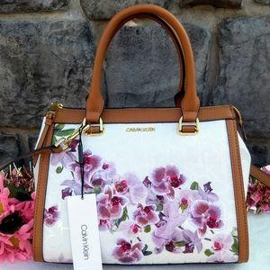 🌸🌺 Calvin Klein Janae Orchid Logo Print Satchel